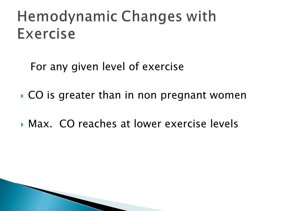 For any given level of exercise  CO is greater than in non pregnant women  Max.