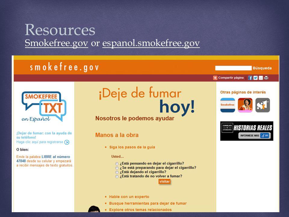 Smokefree.gov or espanol.smokefree.gov Resources