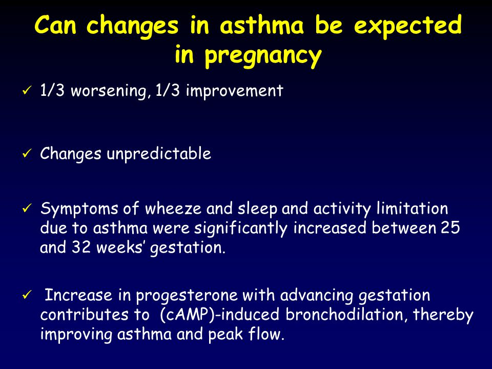 1/3 worsening, 1/3 improvement Changes unpredictable Symptoms of wheeze and sleep and activity limitation due to asthma were significantly increased between 25 and 32 weeks' gestation.