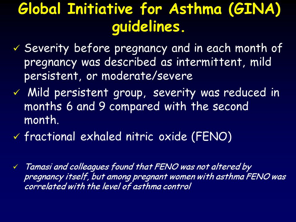 Global Initiative for Asthma (GINA) guidelines. Severity before pregnancy and in each month of pregnancy was described as intermittent, mild persisten