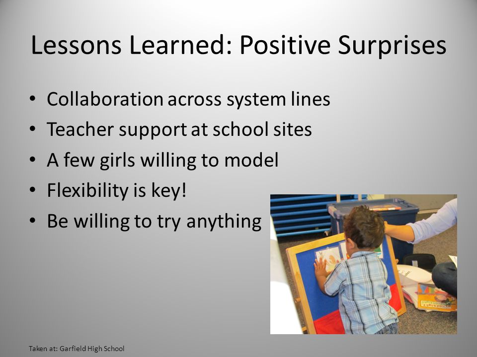 Lessons Learned: Positive Surprises Collaboration across system lines Teacher support at school sites A few girls willing to model Flexibility is key.