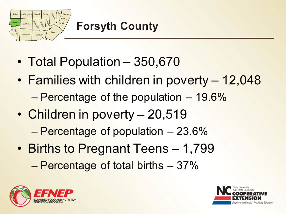 Forsyth County Total Population – 350,670 Families with children in poverty – 12,048 –Percentage of the population – 19.6% Children in poverty – 20,51