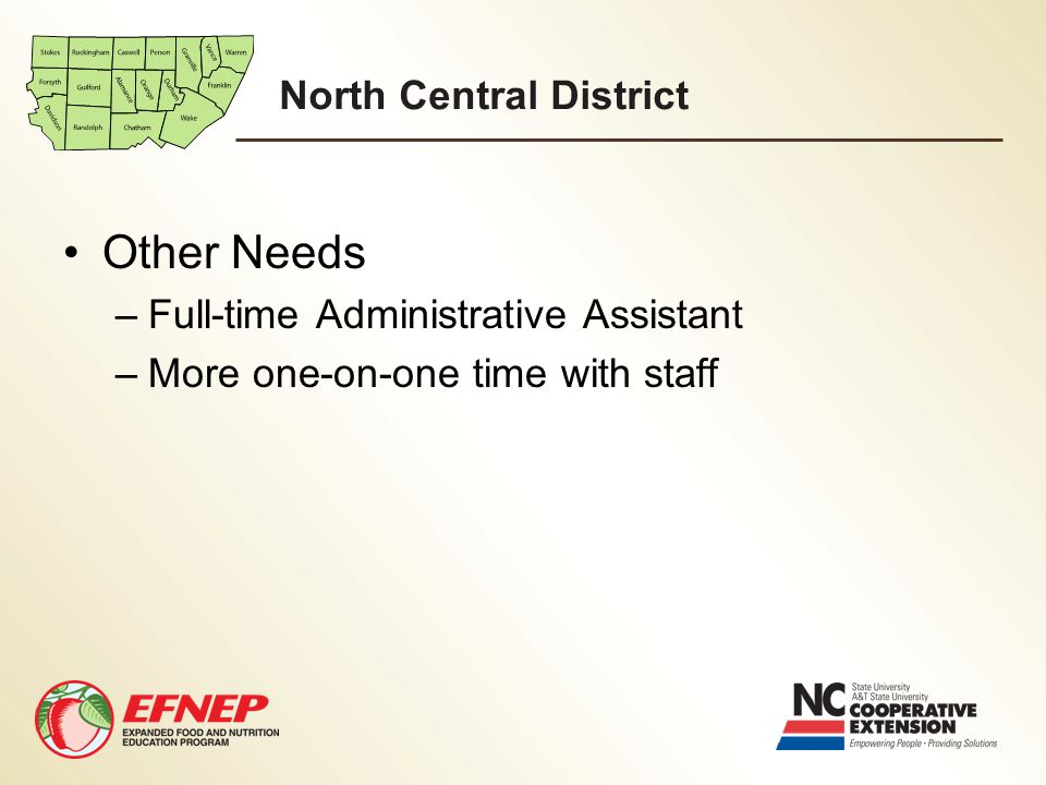 North Central District Other Needs –Full-time Administrative Assistant –More one-on-one time with staff