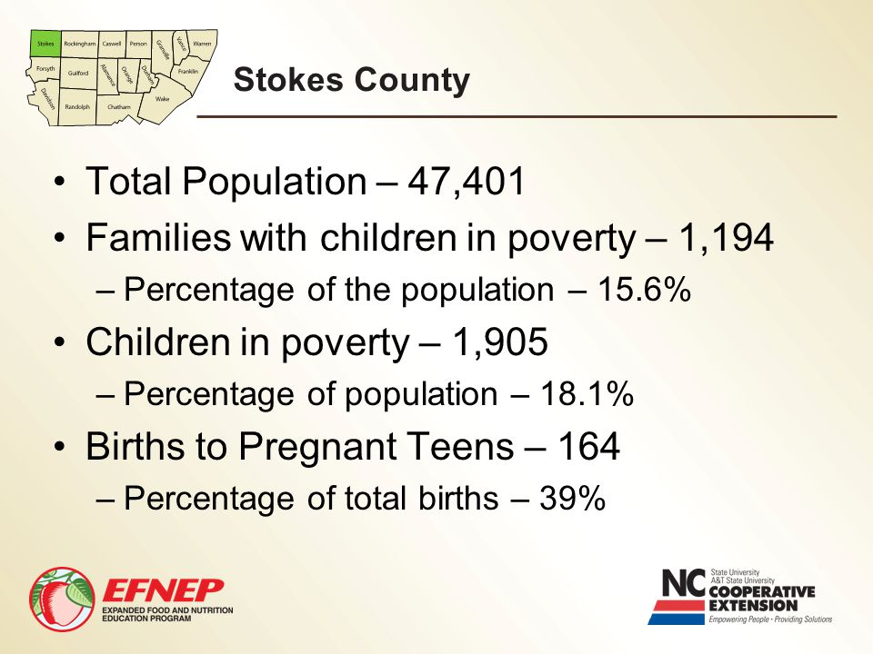 Stokes County Total Population – 47,401 Families with children in poverty – 1,194 –Percentage of the population – 15.6% Children in poverty – 1,905 –P