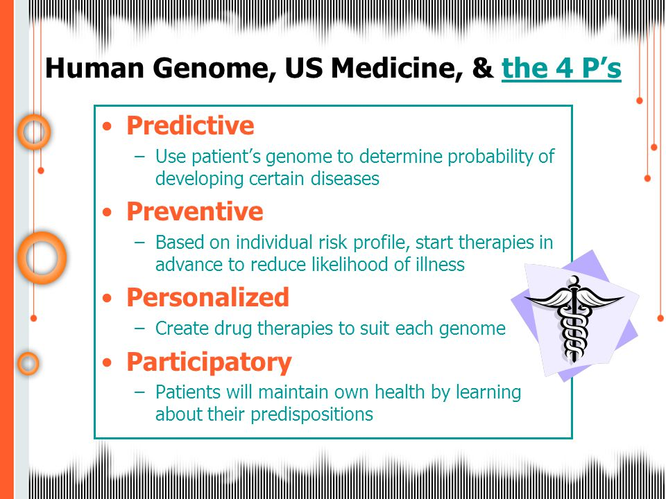 Predictive –Use patient's genome to determine probability of developing certain diseases Preventive –Based on individual risk profile, start therapies in advance to reduce likelihood of illness Personalized –Create drug therapies to suit each genome Participatory –Patients will maintain own health by learning about their predispositions Human Genome, US Medicine, & the 4 P'sthe 4 P's