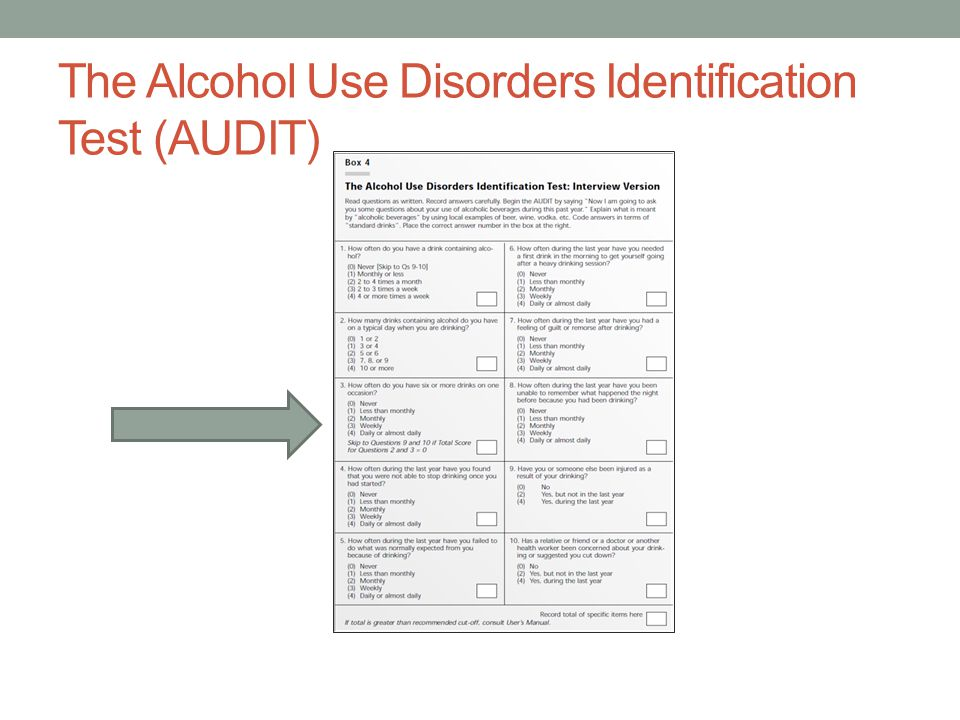 The Alcohol Use Disorders Identification Test (AUDIT)
