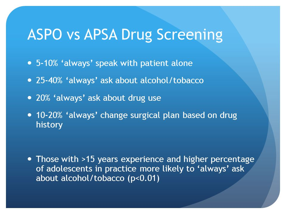 ASPO vs APSA Drug Screening 5-10% 'always' speak with patient alone 25-40% 'always' ask about alcohol/tobacco 20% 'always' ask about drug use 10-20% 'always' change surgical plan based on drug history Those with >15 years experience and higher percentage of adolescents in practice more likely to 'always' ask about alcohol/tobacco (p<0.01)