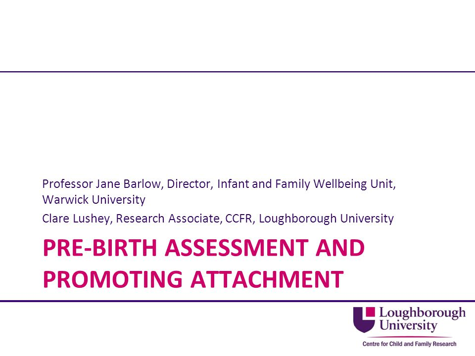 Professor Jane Barlow, Director, Infant and Family Wellbeing Unit, Warwick University Clare Lushey, Research Associate, CCFR, Loughborough University