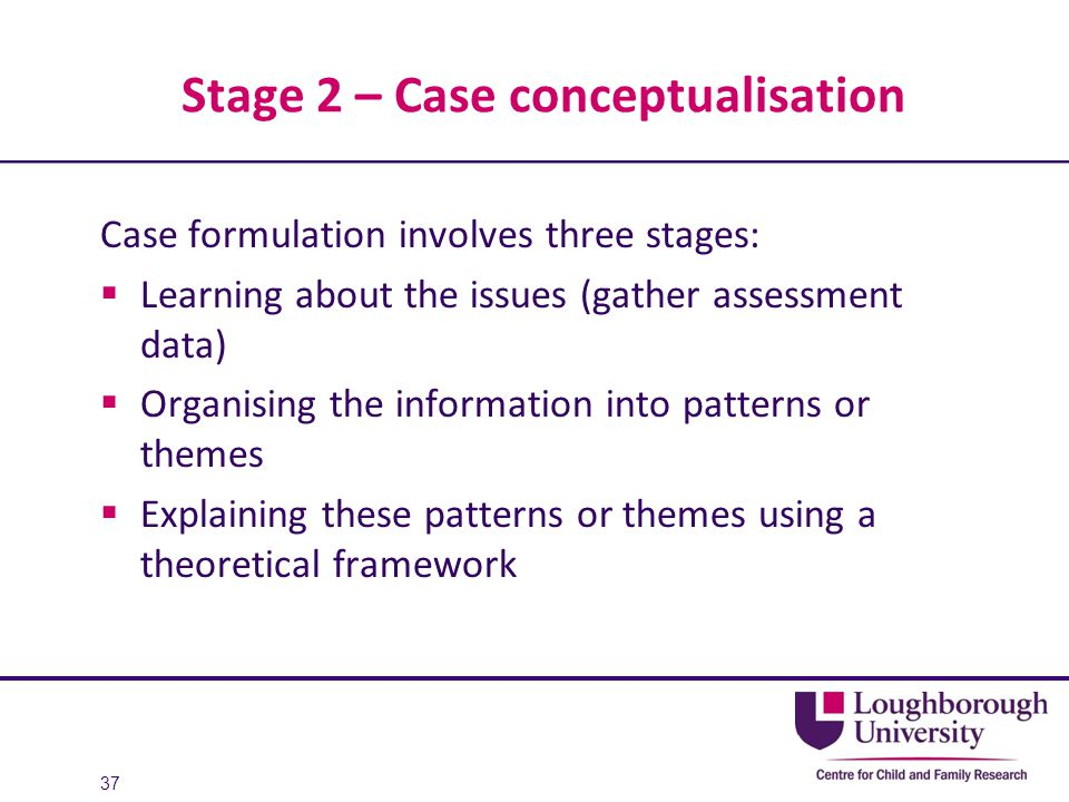 Stage 2 – Case conceptualisation Case formulation involves three stages:  Learning about the issues (gather assessment data)  Organising the informa