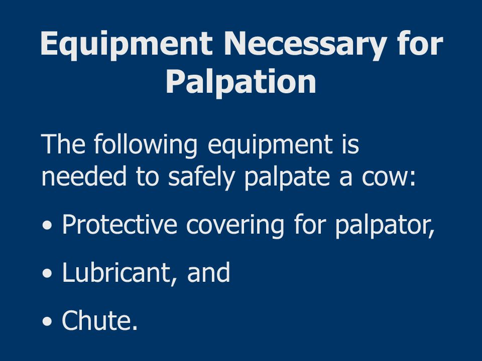 Equipment Necessary for Palpation The following equipment is needed to safely palpate a cow: Protective covering for palpator, Lubricant, and Chute.