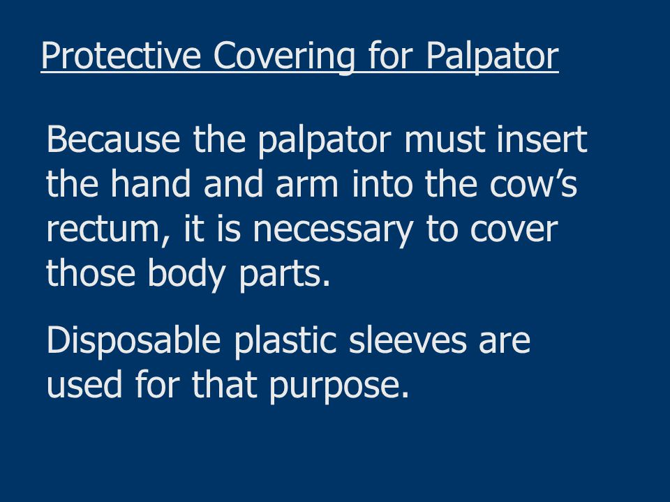Determining pregnancy in cattle by palpation is not particularly difficult, but it requires experience, practice, and a thorough knowledge of the cow's reproductive system to determine the stages of gestation at 30-day intervals.