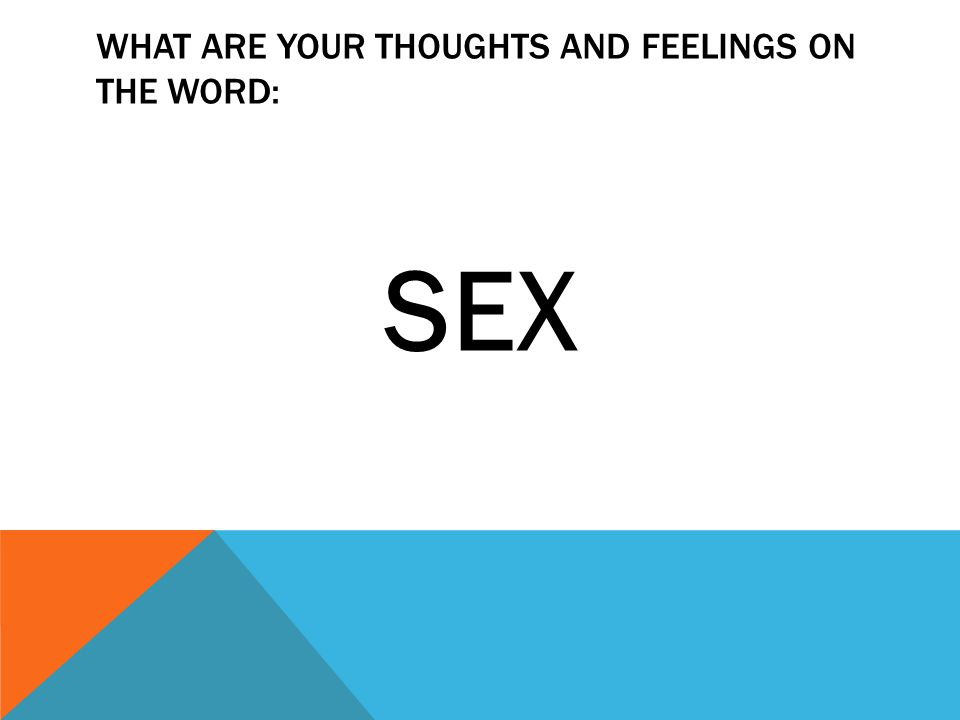 WHAT ARE YOUR THOUGHTS AND FEELINGS ON THE WORD: SEX