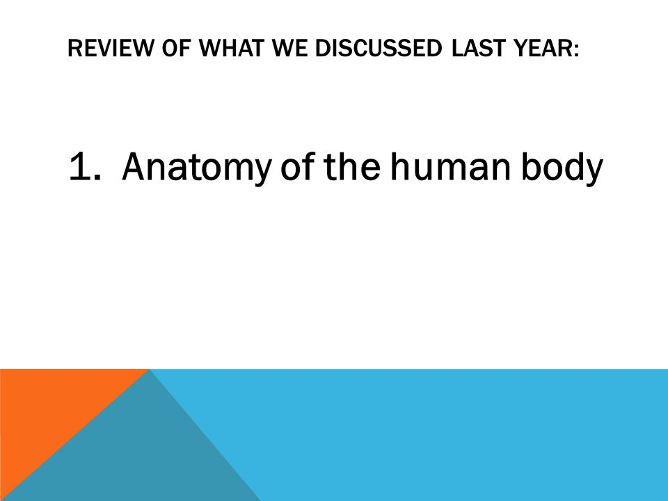 REVIEW OF WHAT WE DISCUSSED LAST YEAR: 1. Anatomy of the human body