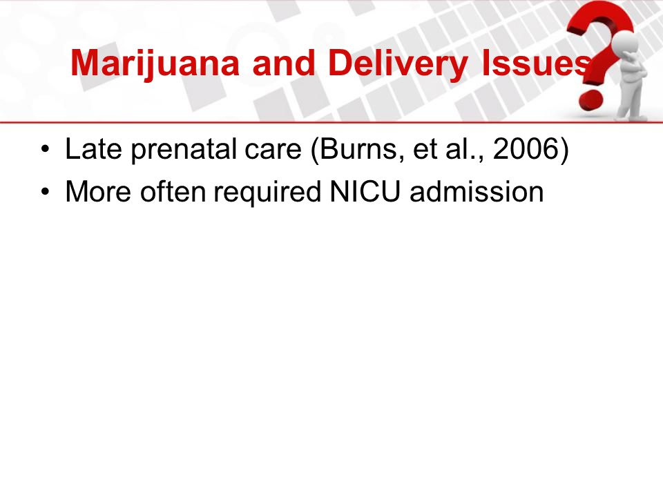 Marijuana and Delivery Issues Late prenatal care (Burns, et al., 2006) More often required NICU admission
