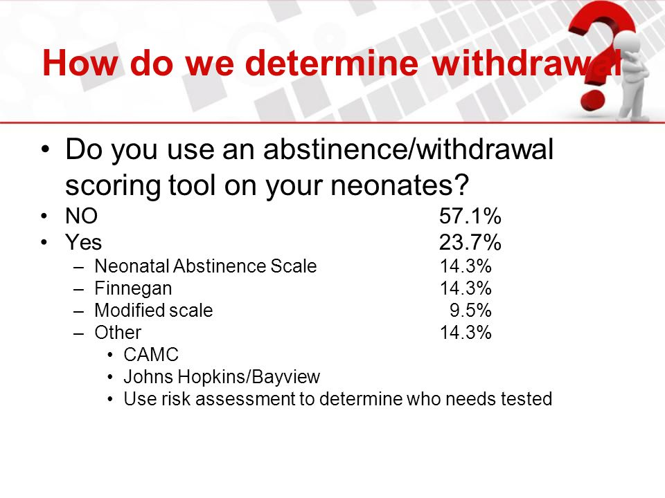 How do we determine withdrawal Do you use an abstinence/withdrawal scoring tool on your neonates? NO57.1% Yes23.7% –Neonatal Abstinence Scale14.3% –Fi