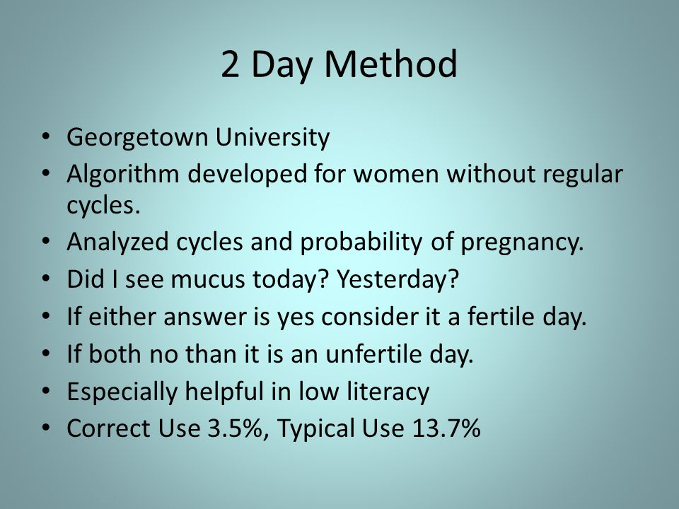 2 Day Method Georgetown University Algorithm developed for women without regular cycles.