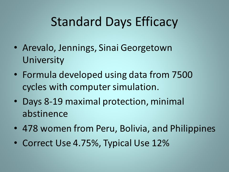 Standard Days Efficacy Arevalo, Jennings, Sinai Georgetown University Formula developed using data from 7500 cycles with computer simulation.