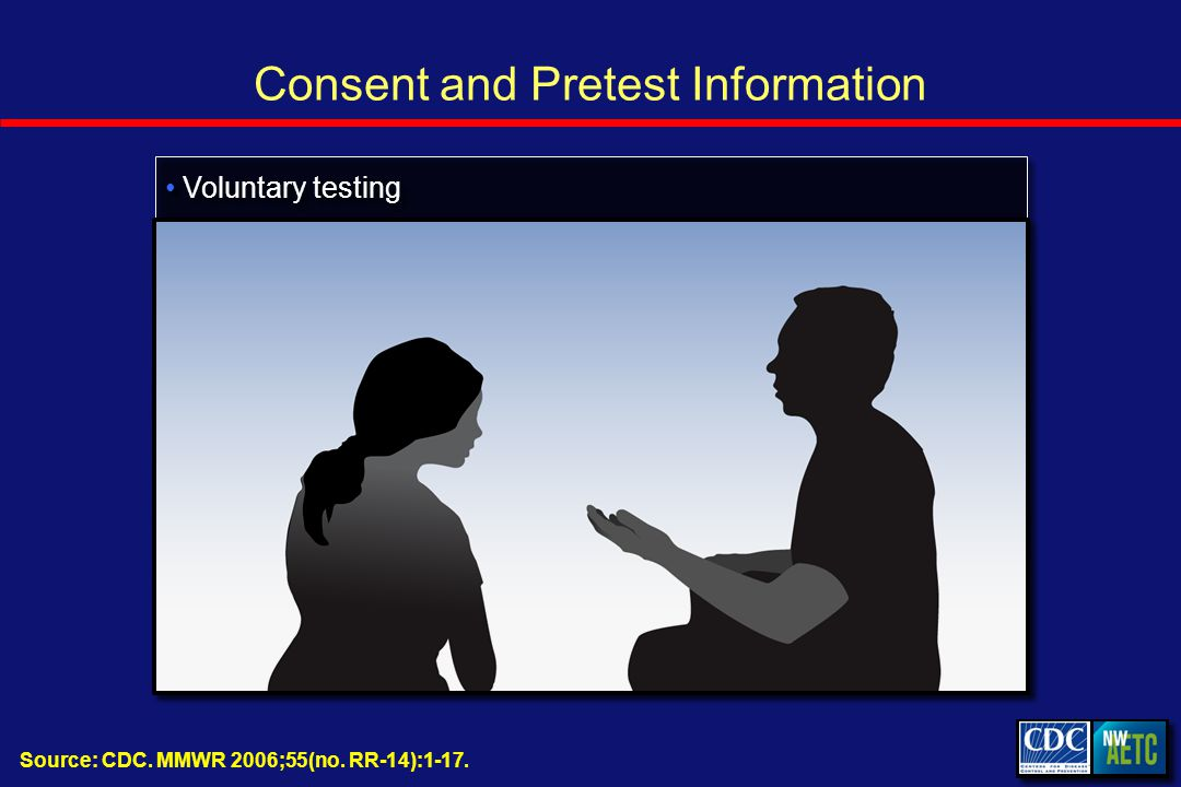 Consent and Pretest Information Source: CDC. MMWR 2006;55(no. RR-14):1-17. Voluntary testing