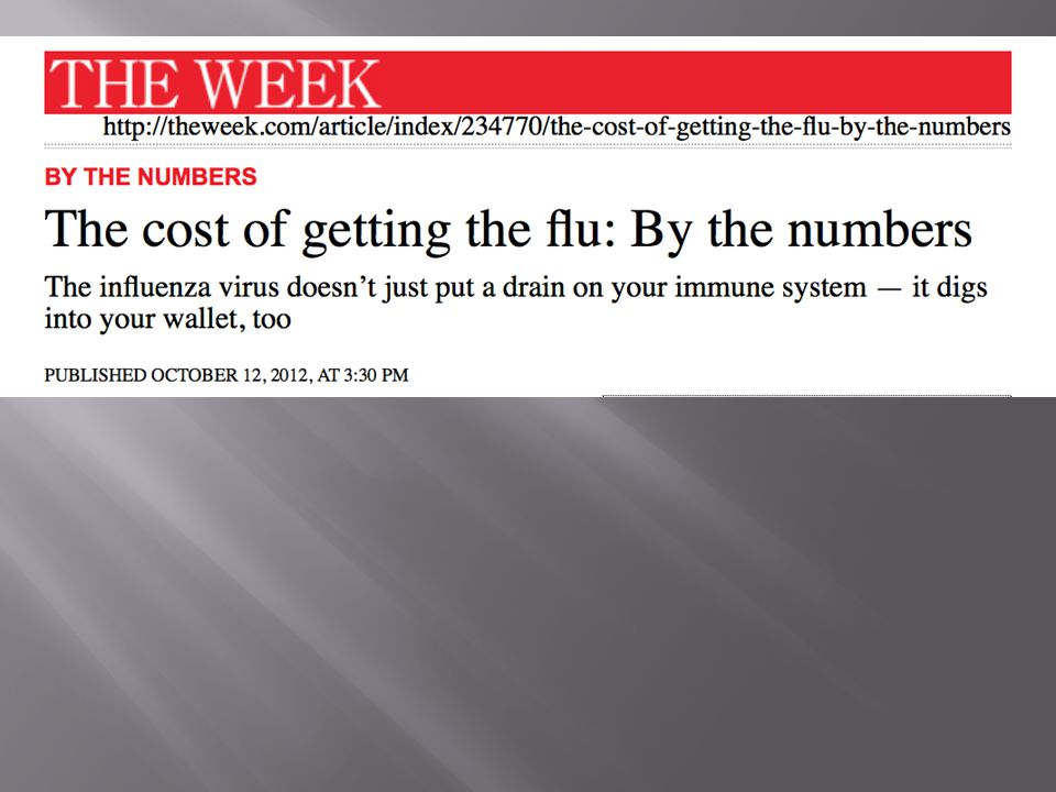 http://theweek.com/article/index/234770/the-cost-of-getting-the-flu-by-the-numbers The Cost of Getting the Flu By the Numbers 5 to 20 Percentage of US residents who get the flu every year 200,000 People hospitalized from flu-related complications each year $87.1 billion Annual loss to US economy due to influenza and its repercussions $16.3 billion Annual toll on businesses due to influenza 70 million Workdays missed by Americans last year due to the flu Between 3,000 and 49,000 Flu-related deaths in America each year