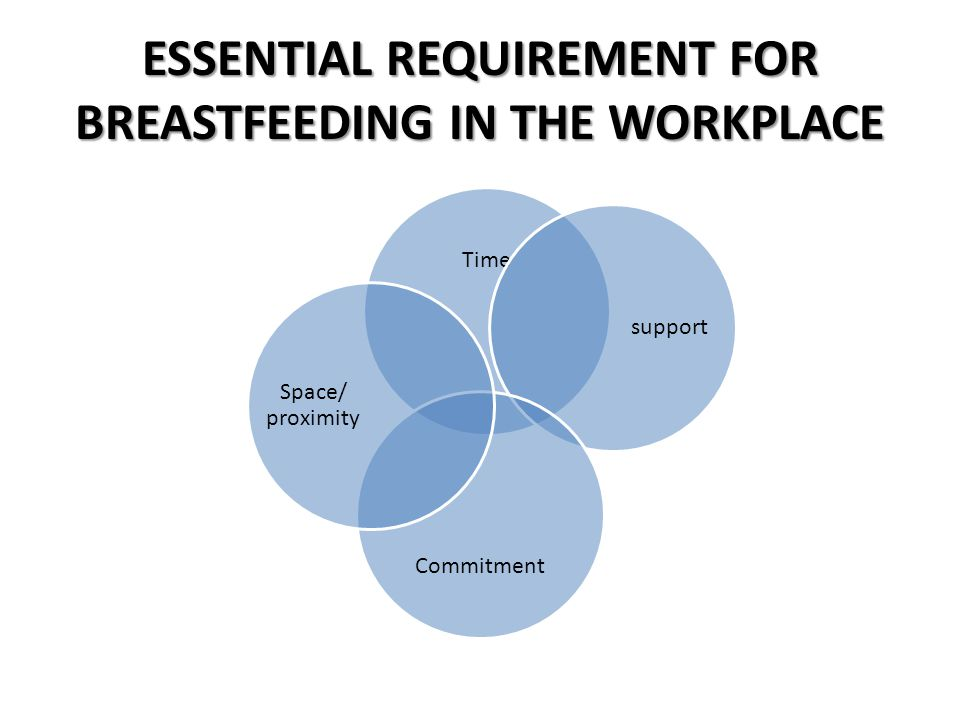 ESSENTIAL REQUIREMENT FOR BREASTFEEDING IN THE WORKPLACE Time support Commitment Space/ proximity