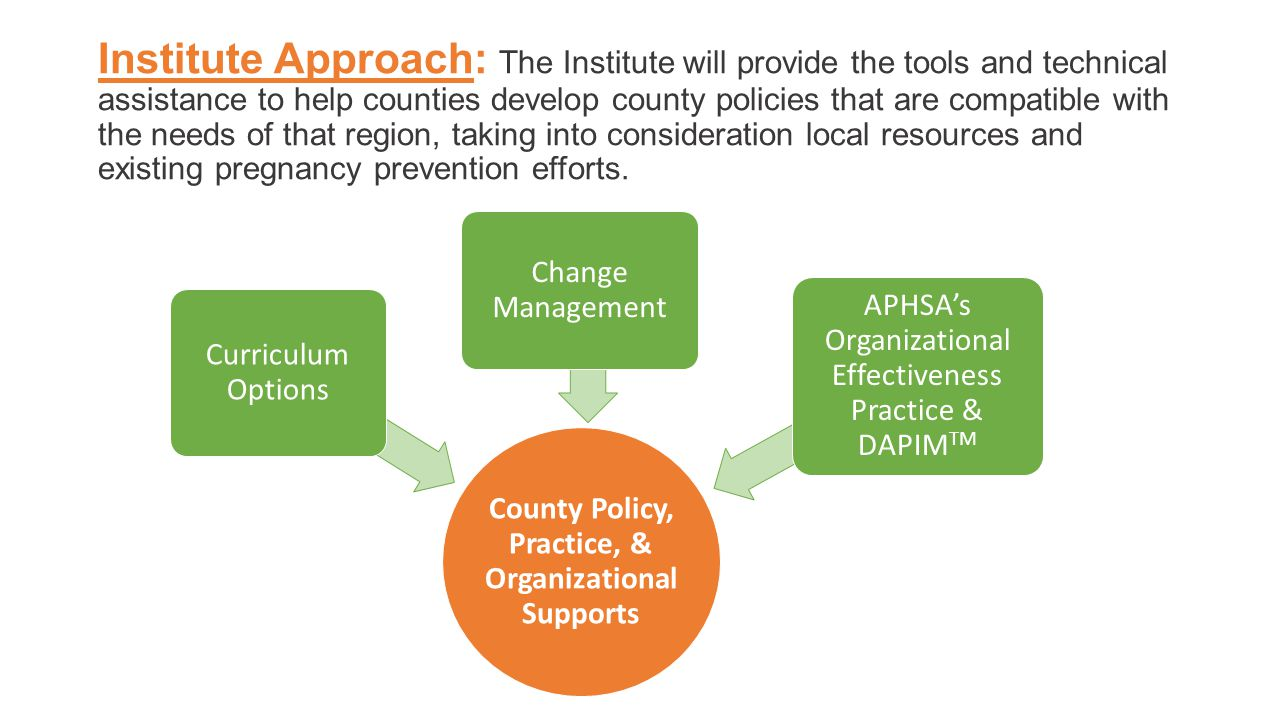 Institute Approach: The Institute will provide the tools and technical assistance to help counties develop county policies that are compatible with the needs of that region, taking into consideration local resources and existing pregnancy prevention efforts.