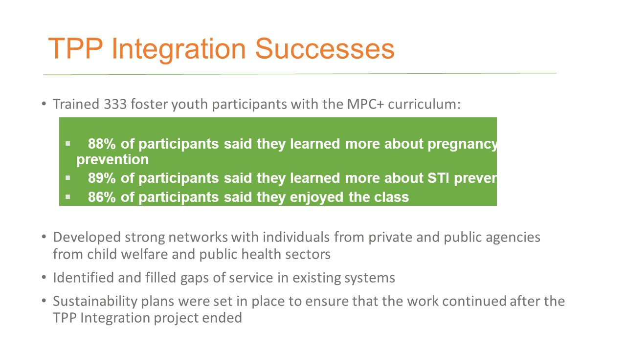 TPP Integration Successes Trained 333 foster youth participants with the MPC+ curriculum:  88% of participants said they learned more about pregnancy prevention  89% of participants said they learned more about STI prevention  86% of participants said they enjoyed the class Developed strong networks with individuals from private and public agencies from child welfare and public health sectors Identified and filled gaps of service in existing systems Sustainability plans were set in place to ensure that the work continued after the TPP Integration project ended