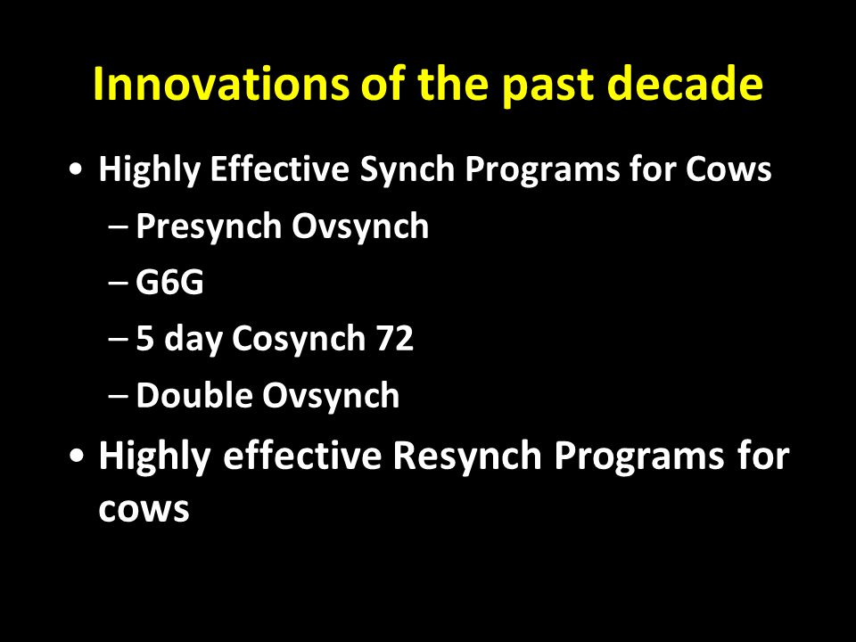 Innovations of the past decade: CIDR approval for lactating dairy cows July 29, 2003