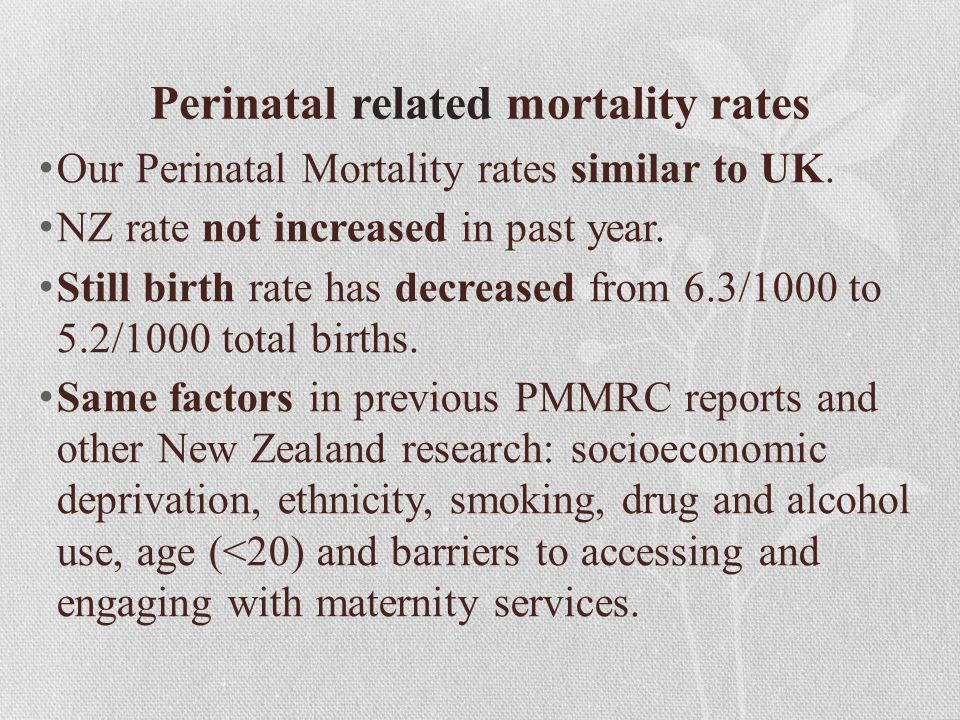 Perinatal related mortality rates Our Perinatal Mortality rates similar to UK. NZ rate not increased in past year. Still birth rate has decreased from