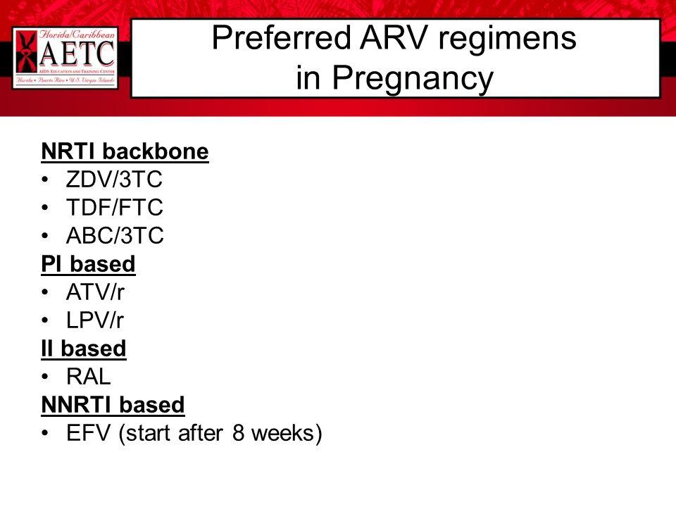 NRTI backbone ZDV/3TC TDF/FTC ABC/3TC PI based ATV/r LPV/r II based RAL NNRTI based EFV (start after 8 weeks) Preferred ARV regimens in Pregnancy