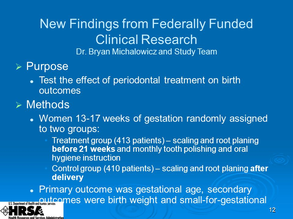 12 New Findings from Federally Funded Clinical Research Dr.