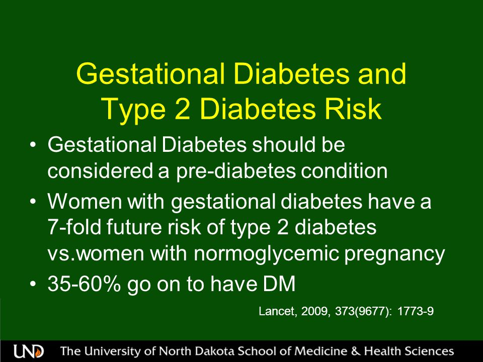Pre-Existing Diabetes and Pregnancy Pre-conception counseling (includes diabetes educator and dietician) Recommended pre-conception A1C as close to normal (6.0%) More Type 2 patients in child bearing years (diagnosed at younger age) Kitzmiller, et al Diabetes Care 31:1060-1079, 2008