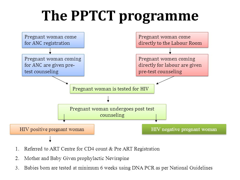The PPTCT programme Pregnant woman come for ANC registration Pregnant woman coming for ANC are given pre- test counseling Pregnant woman is tested for