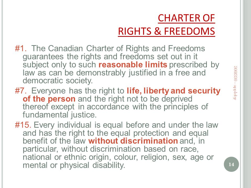 CHARTER OF RIGHTS & FREEDOMS #1.