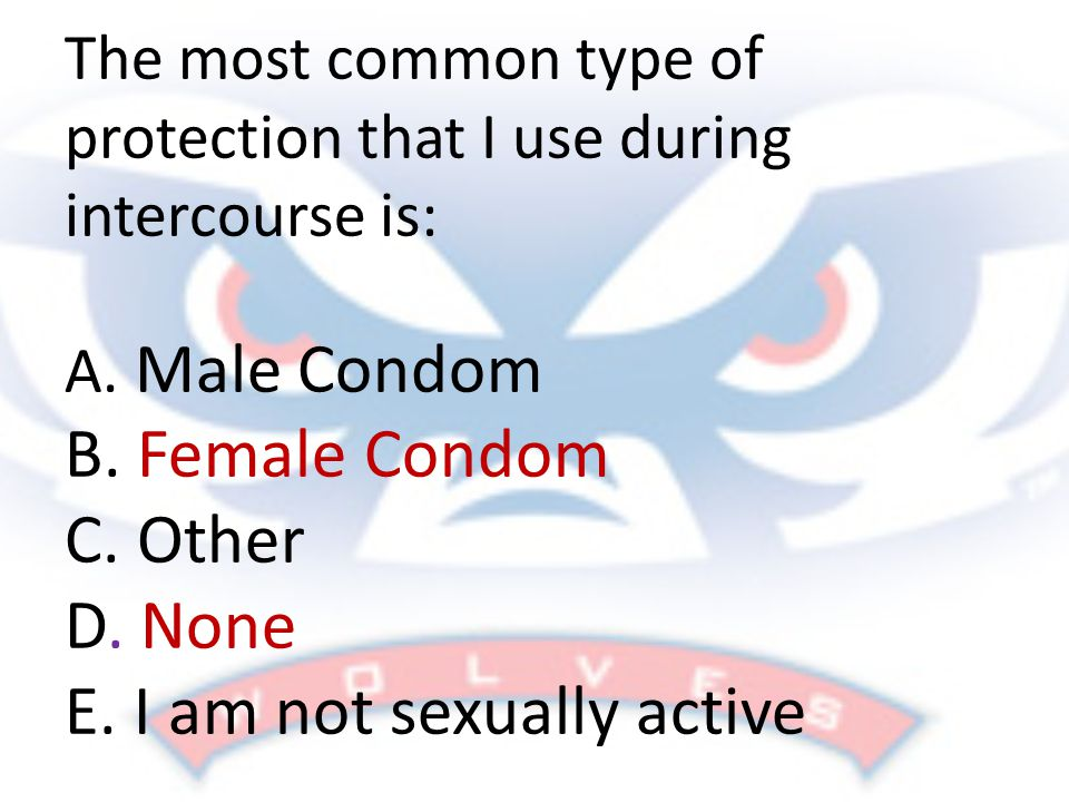 The most common type of protection that I use during intercourse is: A.