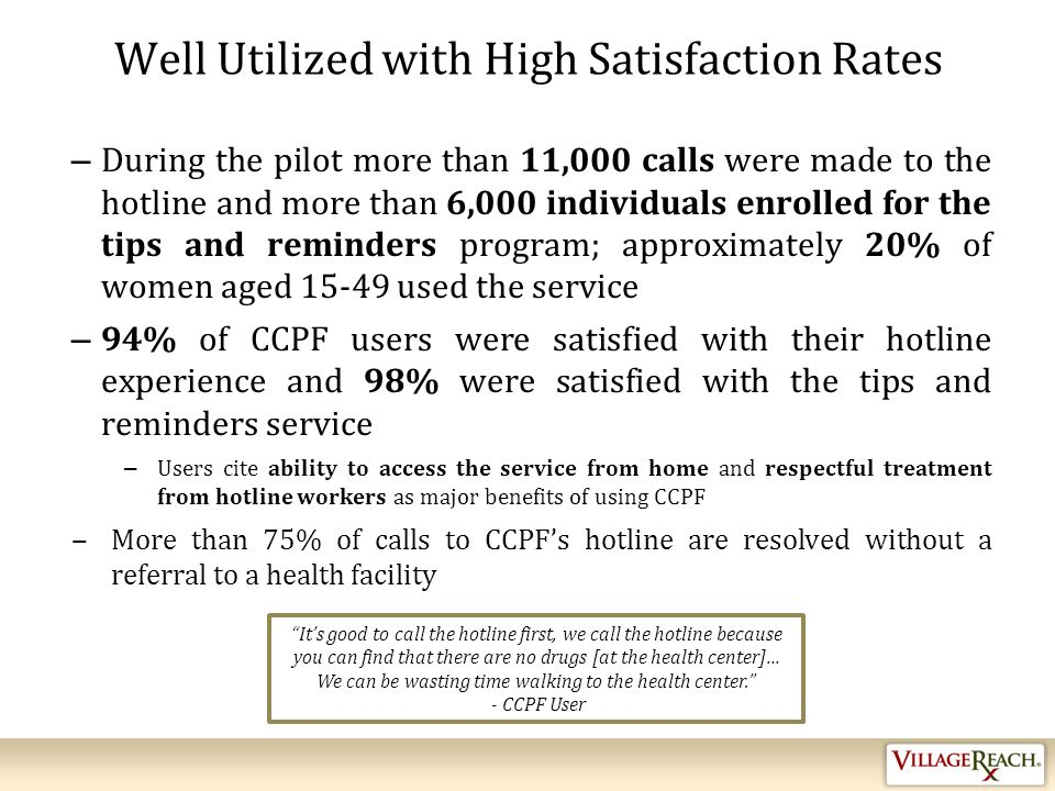 Well Utilized with High Satisfaction Rates – During the pilot more than 11,000 calls were made to the hotline and more than 6,000 individuals enrolled for the tips and reminders program; approximately 20% of women aged 15-49 used the service – 94% of CCPF users were satisfied with their hotline experience and 98% were satisfied with the tips and reminders service – Users cite ability to access the service from home and respectful treatment from hotline workers as major benefits of using CCPF ‒More than 75% of calls to CCPF's hotline are resolved without a referral to a health facility It's good to call the hotline first, we call the hotline because you can find that there are no drugs [at the health center]… We can be wasting time walking to the health center. - CCPF User