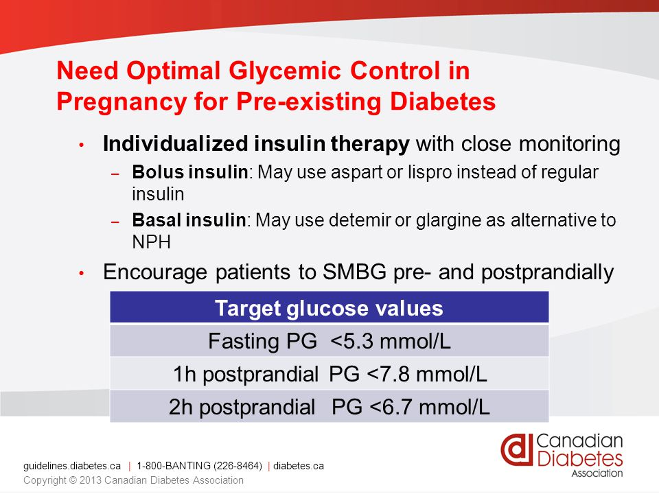guidelines.diabetes.ca | 1-800-BANTING (226-8464) | diabetes.ca Copyright © 2013 Canadian Diabetes Association Need Optimal Glycemic Control in Pregna