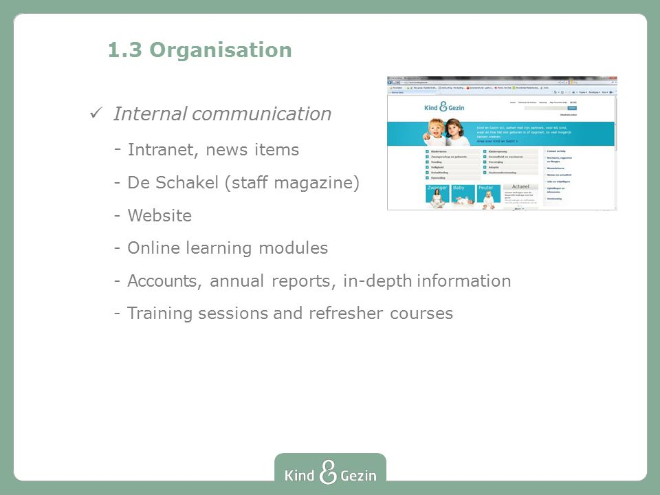 1.3 Organisation Internal communication - Intranet, news items -De Schakel (staff magazine) -Website -Online learning modules -Accounts, annual reports, in-depth information -Training sessions and refresher courses