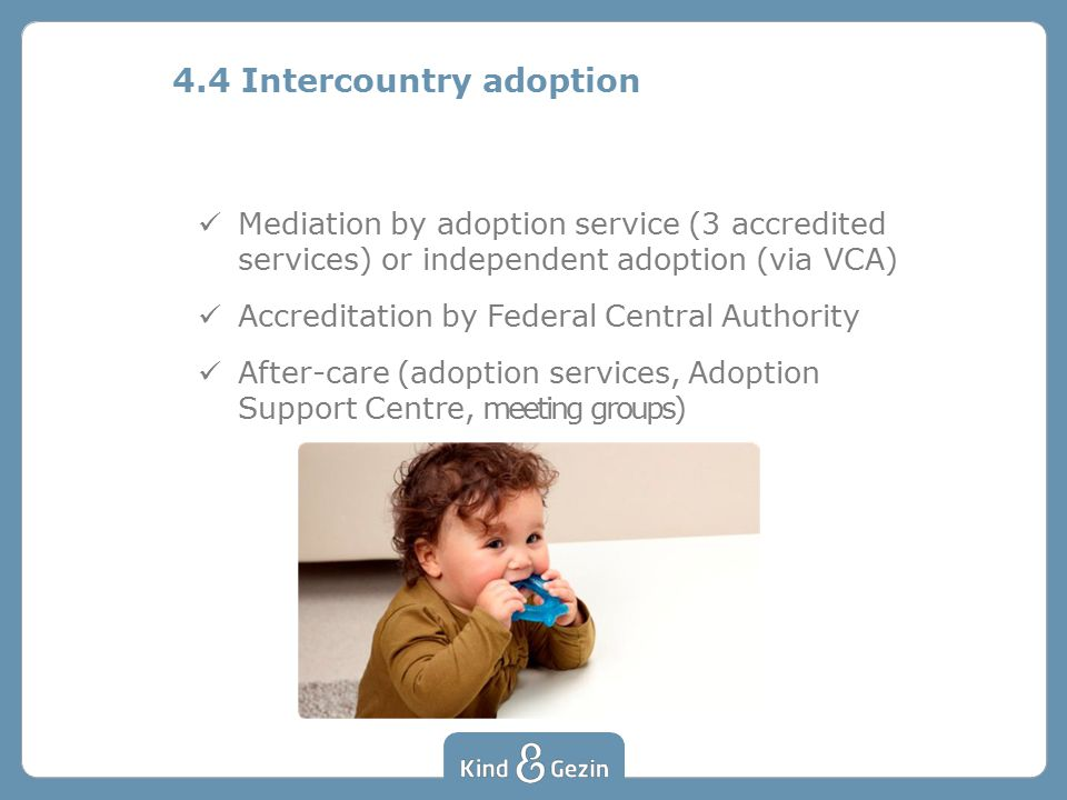 Mediation by adoption service (3 accredited services) or independent adoption (via VCA) Accreditation by Federal Central Authority After-care (adoption services, Adoption Support Centre, meeting groups) 4.4 Intercountry adoption