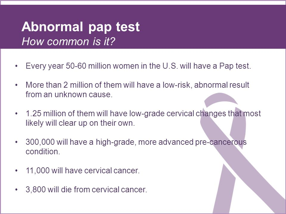 Abnormal pap test How common is it.Every year 50-60 million women in the U.S.