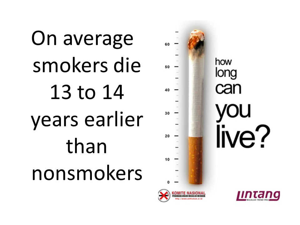 On average smokers die 13 to 14 years earlier than nonsmokers