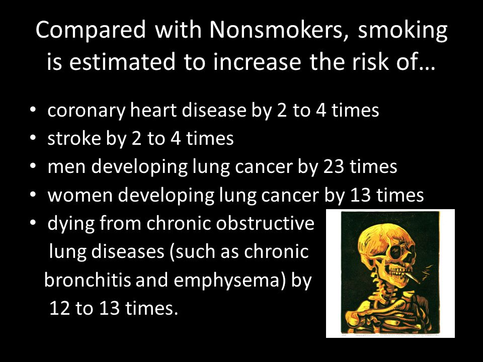 Compared with Nonsmokers, smoking is estimated to increase the risk of… coronary heart disease by 2 to 4 times stroke by 2 to 4 times men developing lung cancer by 23 times women developing lung cancer by 13 times dying from chronic obstructive lung diseases (such as chronic bronchitis and emphysema) by 12 to 13 times.
