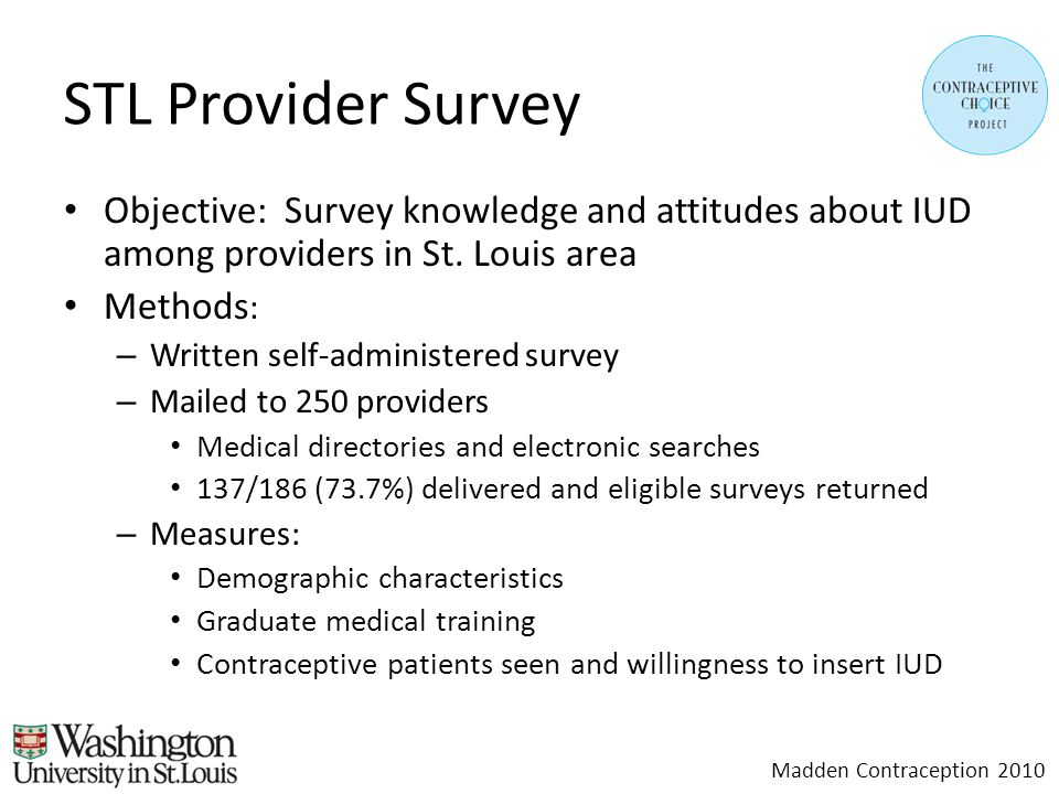 STL Provider Survey Objective: Survey knowledge and attitudes about IUD among providers in St.