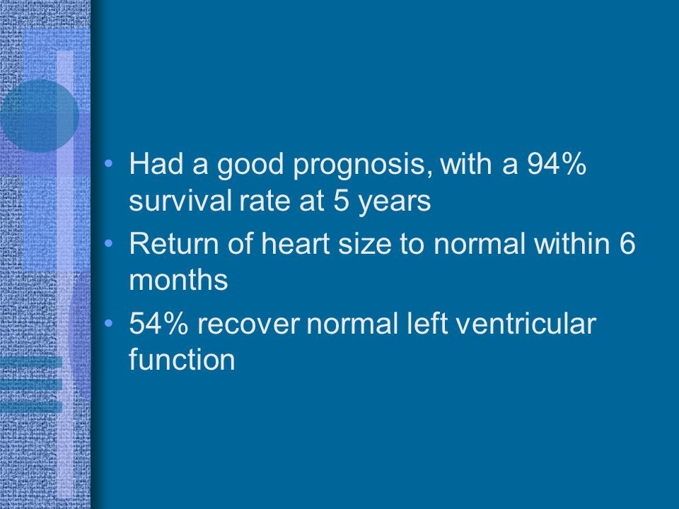 Had a good prognosis, with a 94% survival rate at 5 years Return of heart size to normal within 6 months 54% recover normal left ventricular function
