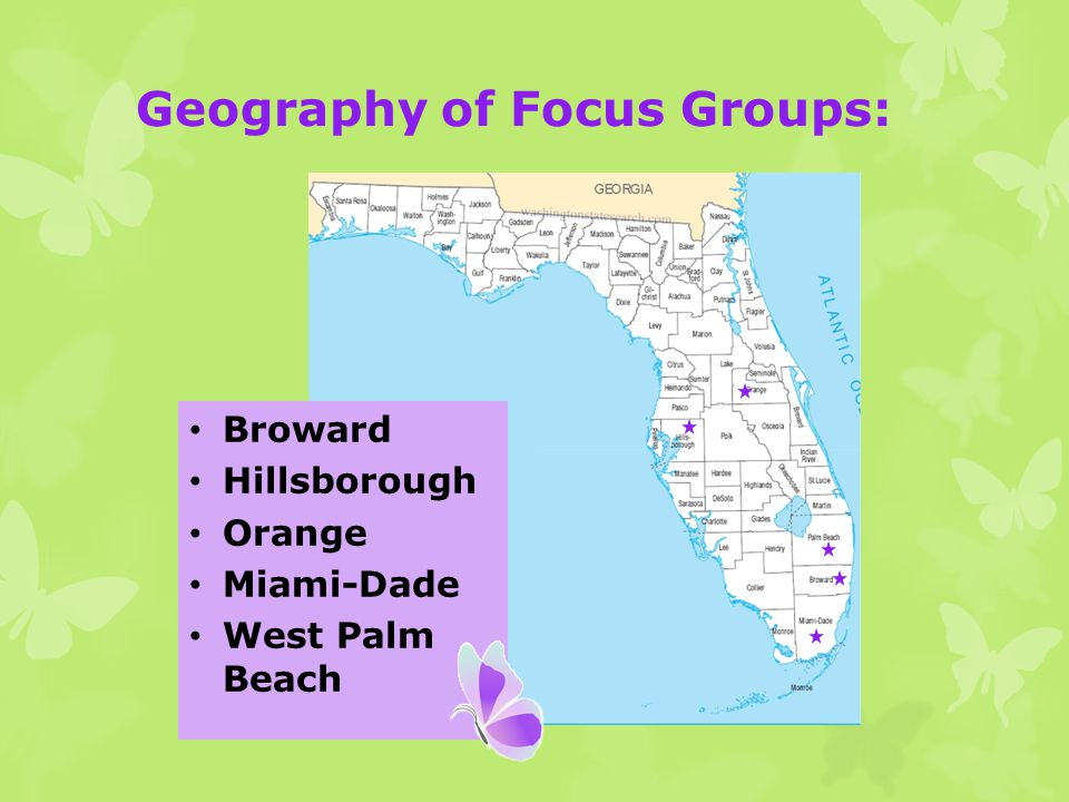 Geography of Focus Groups: Broward Hillsborough Orange Miami-Dade West Palm Beach