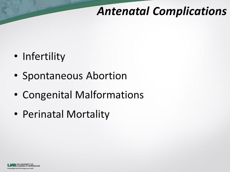 Antenatal Complications Infertility Spontaneous Abortion Congenital Malformations Perinatal Mortality