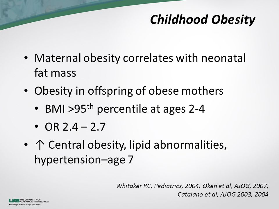 Childhood Obesity Maternal obesity correlates with neonatal fat mass Obesity in offspring of obese mothers BMI >95 th percentile at ages 2-4 OR 2.4 – 2.7 ↑ Central obesity, lipid abnormalities, hypertension–age 7 Whitaker RC, Pediatrics, 2004; Oken et al, AJOG, 2007; Catalano et al, AJOG 2003, 2004