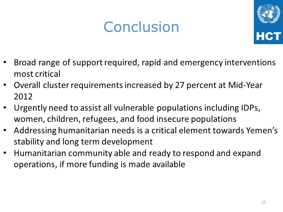 Conclusion Broad range of support required, rapid and emergency interventions most critical Overall cluster requirements increased by 27 percent at Mi