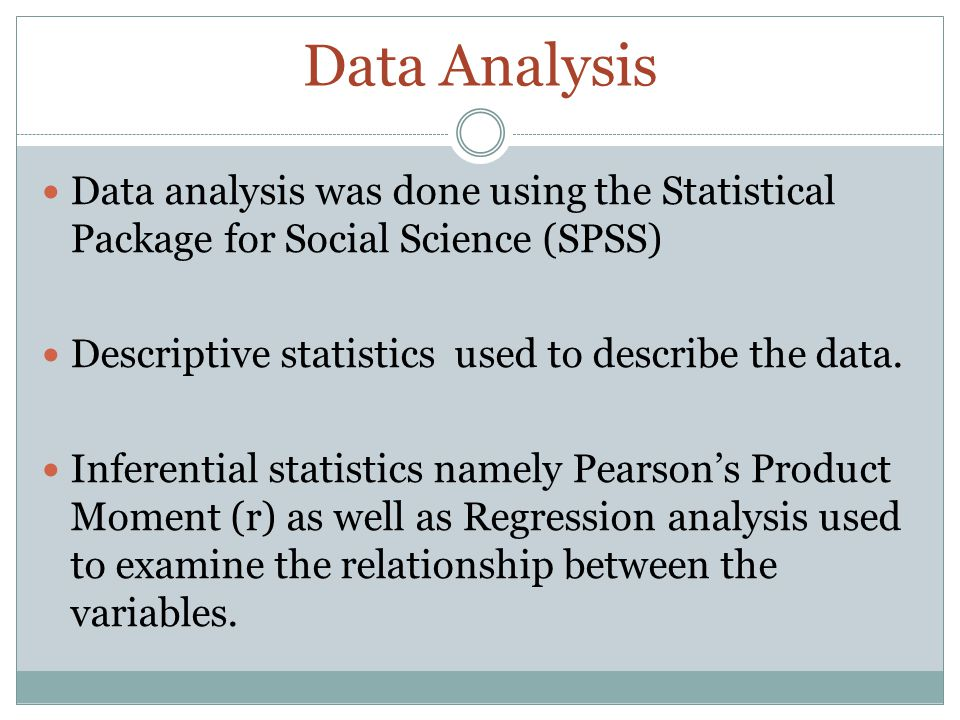 Data Analysis Data analysis was done using the Statistical Package for Social Science (SPSS) Descriptive statistics used to describe the data.