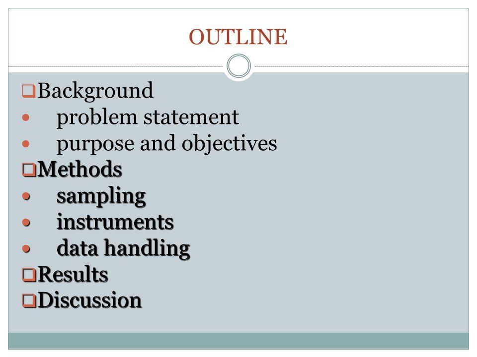 OUTLINE  Background problem statement purpose and objectives  Methods sampling sampling instruments instruments data handling data handling  Results  Discussion