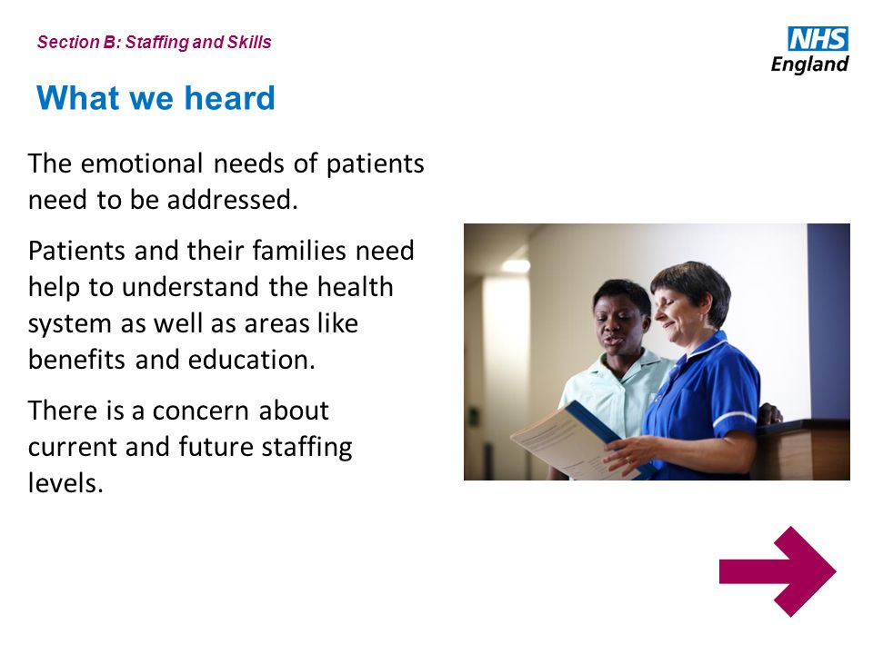 What we heard Section B: Staffing and Skills The emotional needs of patients need to be addressed.